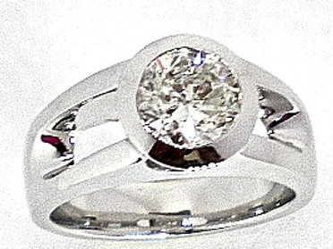 Bezel Set Round Diamond Engagement Ring