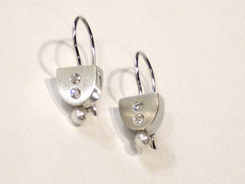 Diamond Shield Earrings on Wires