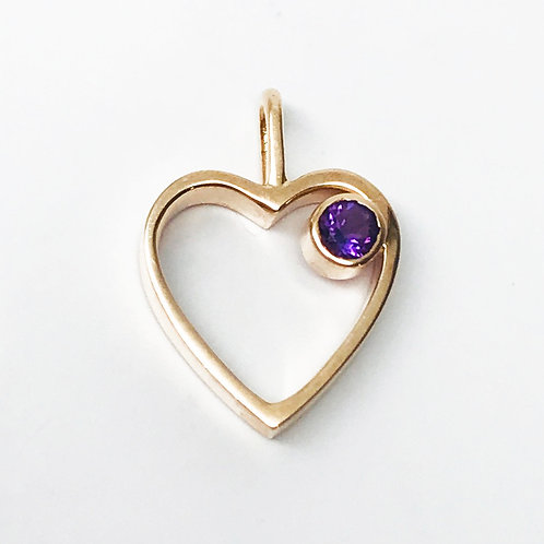 Petite Open Heart with Amethyst