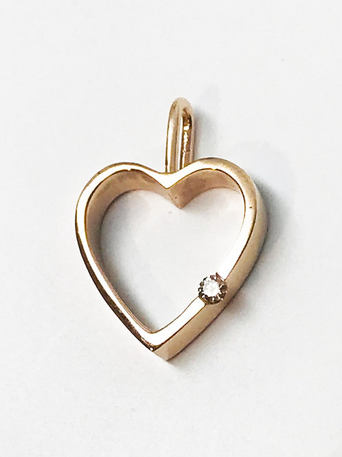 Petite Open Heart with Diamond