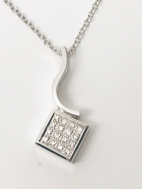 Curved Pendant with Pave Square