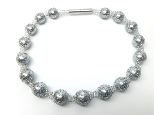 Knitted Grey Pearl Necklace