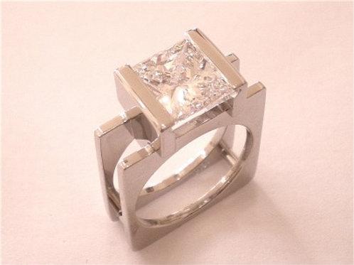 Custom Made Square Platinum Princess Cut Diamond Ring