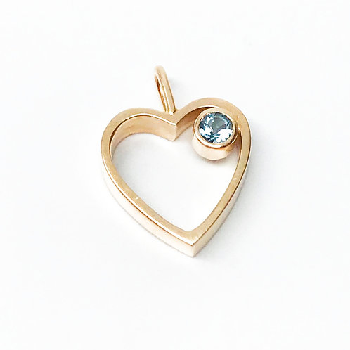 Petite Open Heart with Blue Topaz