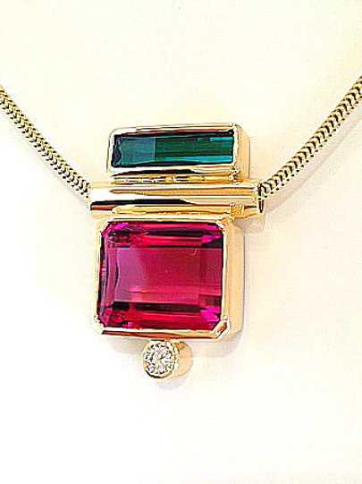 One of a Kind Tourmaline/Diamond Necklace