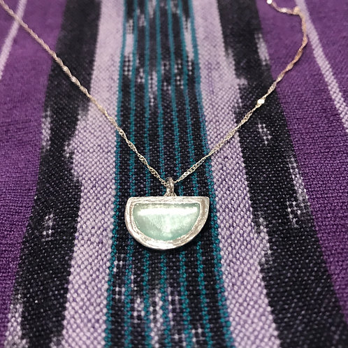 Half Moon Pendant w/Green Glass