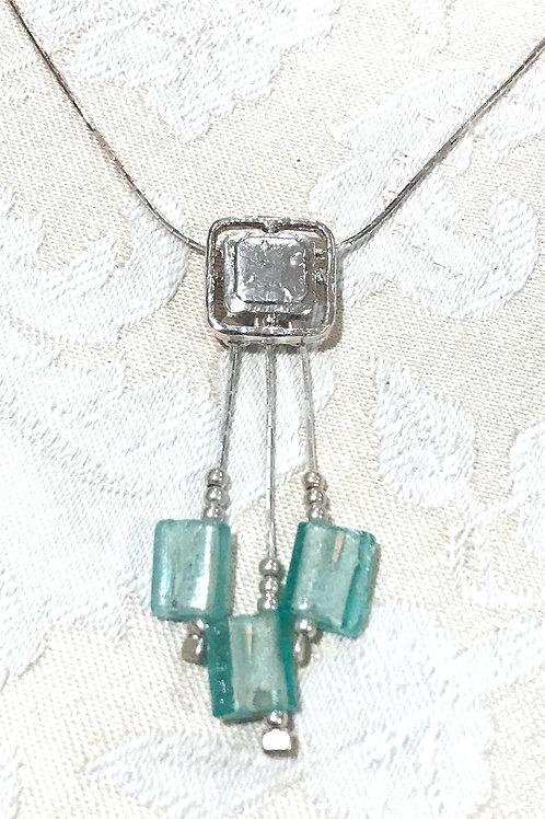 Square Pendant w/Green Glass