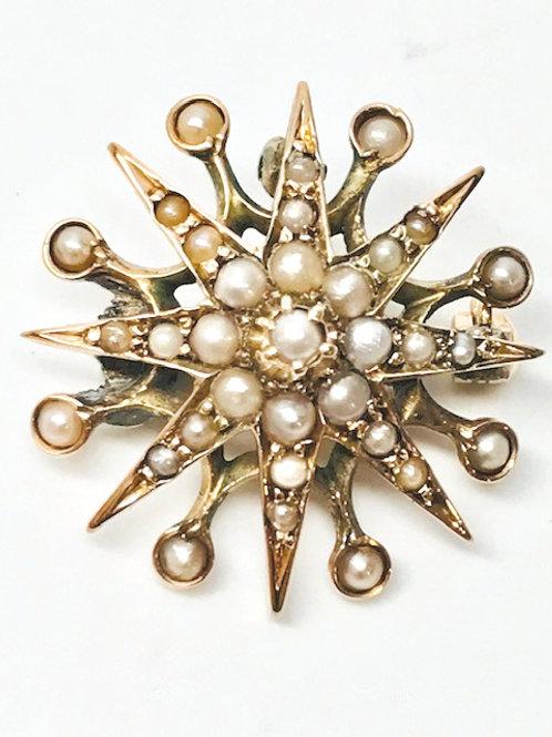 Vintage Seed Pearl Sunburst Brooch