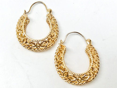 14kt. Filigree Hoop Earrings
