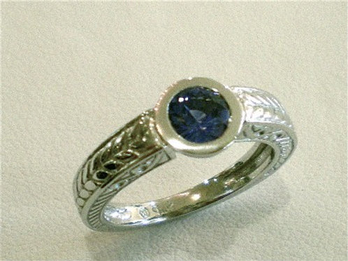Ceylon Blue Sapphire Engraved Engagement Ring