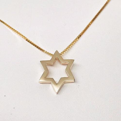 Small Thin Open Star Star of David pendant