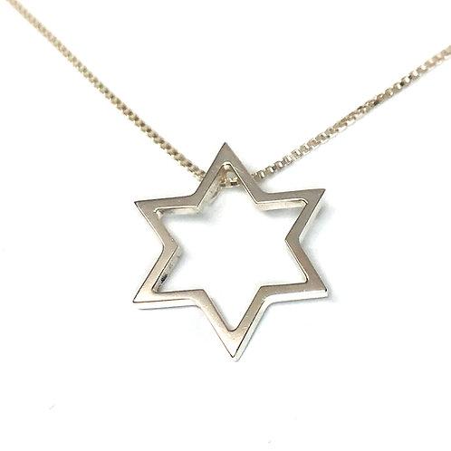 Medium Thin Open Star Star of David pendant