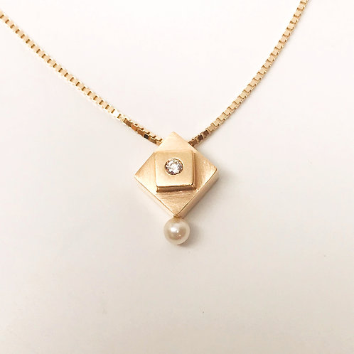Square in a Square Pendant with Diamond and Pearl