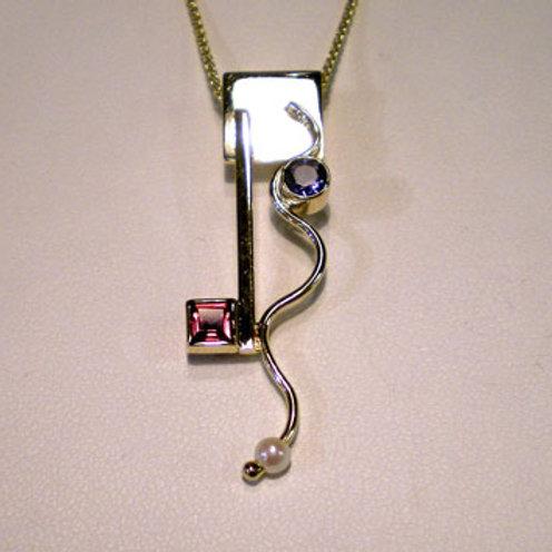 Rhodolite/Garnet/Iolite/Pearl Pendant