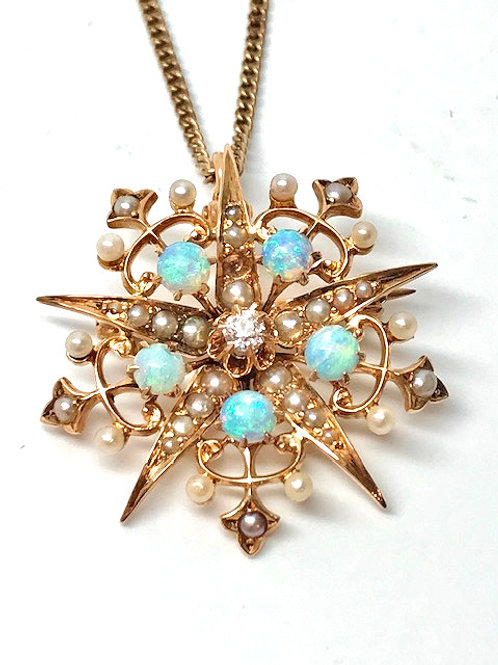 Estate Opal, Pearl & Diamond Pendant with Chain