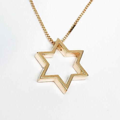 Medium Thick Open Star Star of David pendant