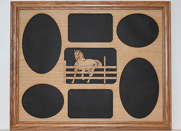 11x14 Horse & Fence Wood Photo-Picture Mat Collage Insert