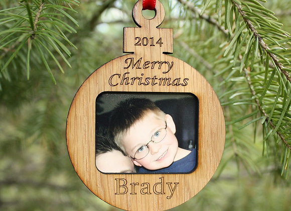 """3"""" Christmas Ornament Personalized - Custom Picture Frame - Merry Christmas"""