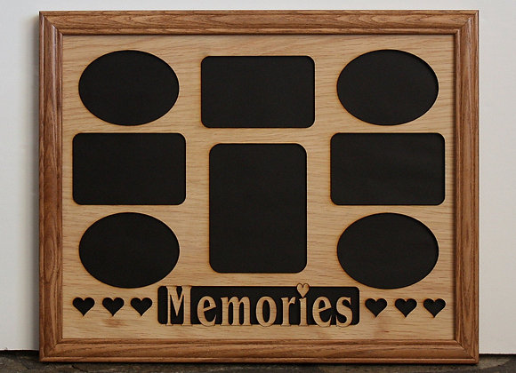 11x14 Memories with Hearts Wood Photo-Picture Mat Collage Insert