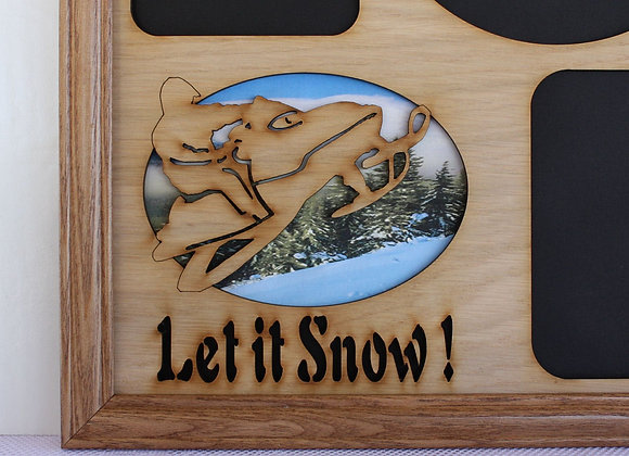 11x14 Let it Snow - Snowmobile Wood Photo-Picture Mat Collage Insert