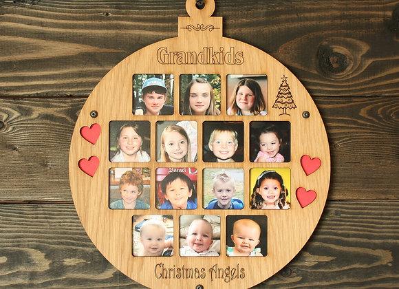 "8.75"" Christmas Ornament 14 Grandkids Photo Ornament Grandchildren Picture Frame"
