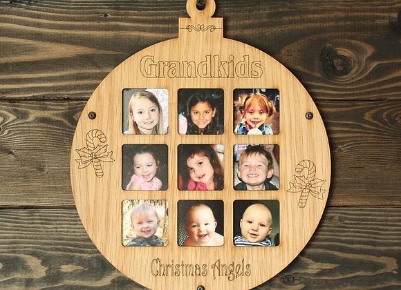 "8.5"" Christmas Ornament 9 Grandkids Photo Picture Frame"
