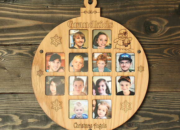 "8.5"" Christmas Ornament 12 Grandkids Photo Picture Frame"
