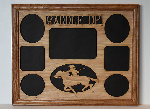11x14 Saddle Up Horse Rider Wood Photo-Picture Mat Collage Insert