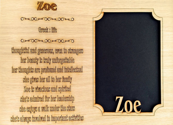 Name Meaning Mat Insert for 8x10 frame NO FRAME INCLUDED - holds 5x7 photo - Fir