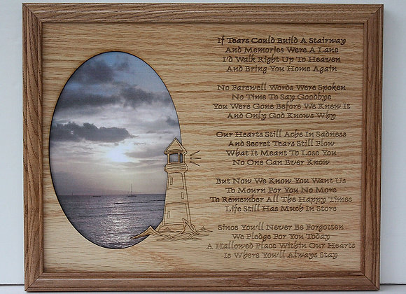 11x14 Memorial Sympathy - If Tears Could Build a Stairway Light House Custom Woo