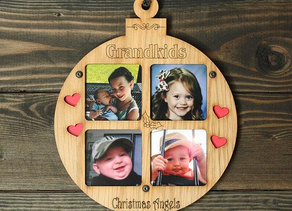 "6.5"" Christmas Ornament 4 Grandkids Photo Picture Frame"