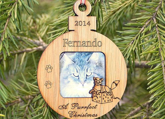 "3"" Personalized Cat Ornament - Christmas Ornament – Photo Ornament"