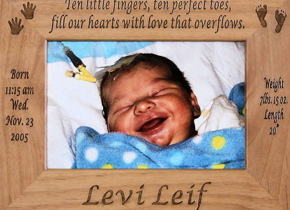 Birth Announcement Picture Frame 4x6 5x7 8x10 Customized Alderwood Frame