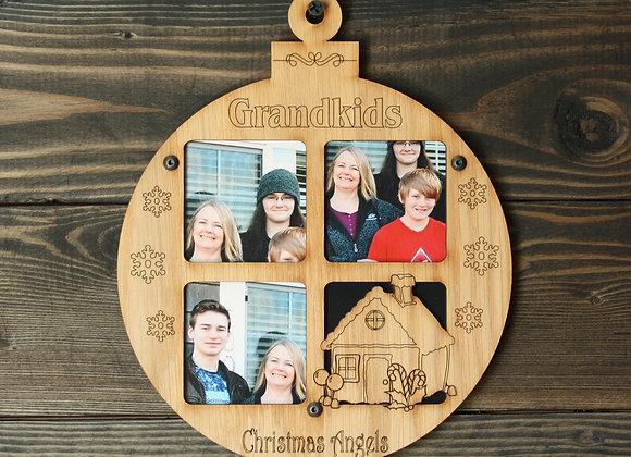 "6.5"" Christmas Ornament 3 Grandkids Photo Picture Frame"