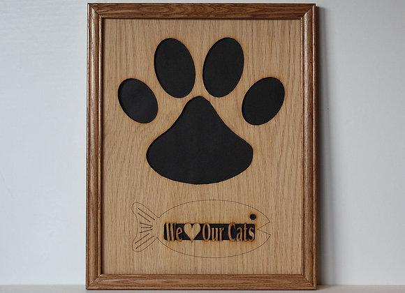 11x14 Cat Kitty Paw Oak Wood Photo Mat Collage