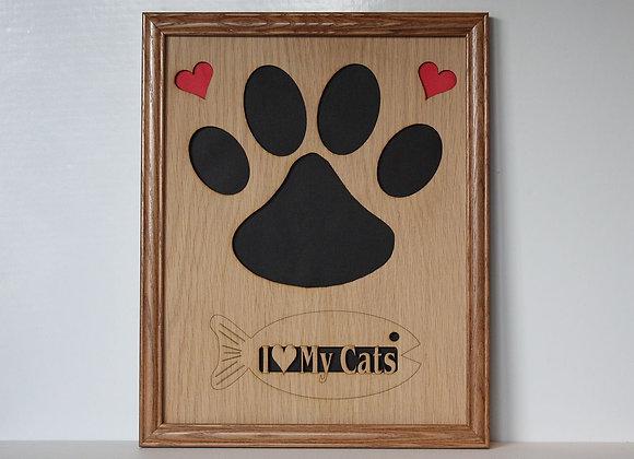 11x14 Cat Kitty Paw & Hearts Oak Wood Photo Mat Collage