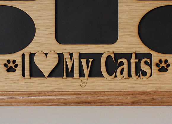 11x14 Cat Collage with Paws Oak Wood Photo Mat Insert