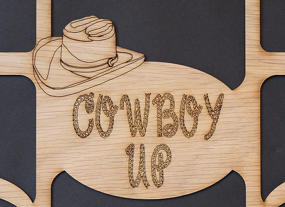 11x14 Cowboy Up & Hat Wood Photo-Picture Mat Collage Insert