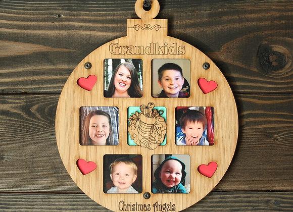 "6.5"" Christmas Ornament 6 Grandkids Photo Picture Frame"