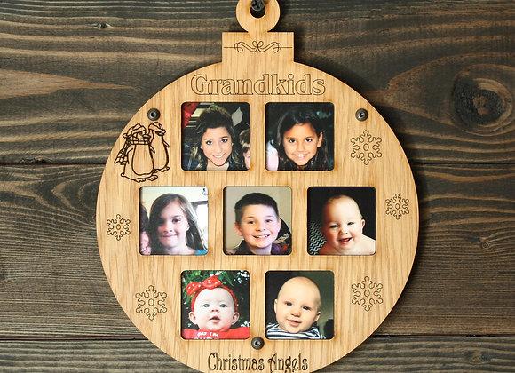 "6.5"" Christmas Ornament 7 Grandkids Photo Picture Frame"