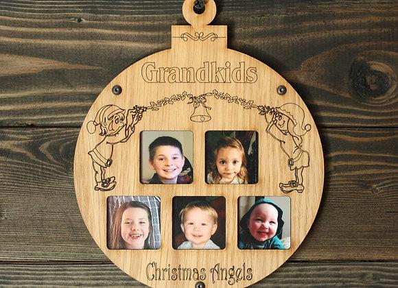 "6.5"" Christmas Ornament 5 Grandkids Photo Ornament Grandkids Picture Frame Ornam"
