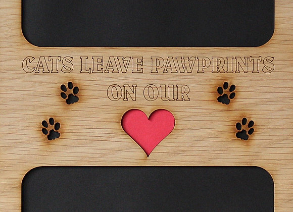 11x14 Cats Leave Pawprints On Our Heart Wood Photo-Picture Mat Collage Insert