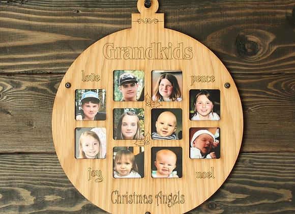 "8.5"" Christmas Ornament 10 Grandkids Photo Picture Frame"