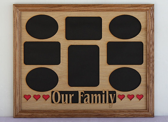 11x14 Our Family with Hearts Wood Photo-Picture Mat Collage Insert