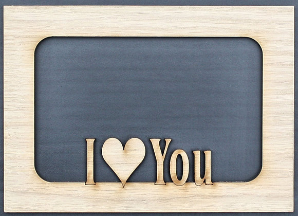 Valentine's Day I Love You Couples Custom Wood Picture Photo Mat Insert for 5x7