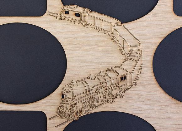 11x14 Train Locomotive RR Wood Photo-Picture Mat Collage Insert