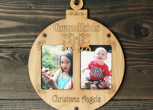 "6.5"" Christmas Ornament 2 Grandkids Photo Picture Frame"