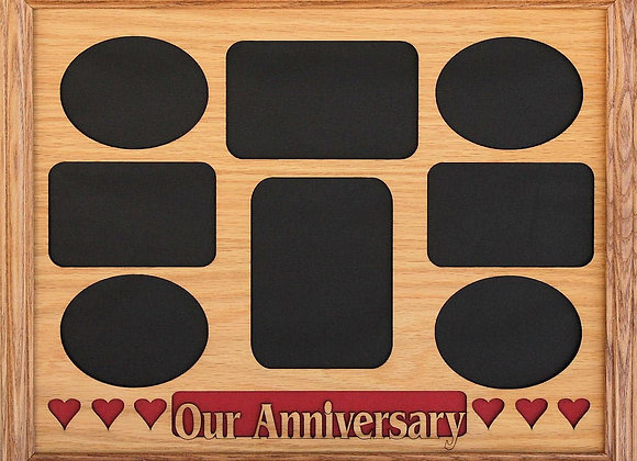 11x14 Our Anniversary with Hearts Wood Photo-Picture Mat Collage Insert