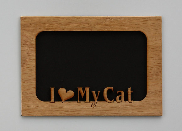 5x7 I Love My Cat - Kitty Wood Photo-Picture Mat Insert for frame