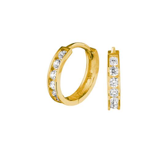 Gouden Klapoorringen Zirkonia 12,5 mm